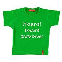 T-shirt korte mouw met naam #hoera#ik#word#grote#broer