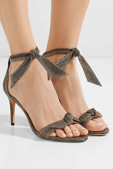 c49c3e25083 ALEXANDRE BIRMAN Clarita fabulous bow-embellished silver and gold  textured-lamé sandals