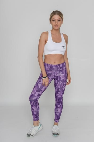 PURPLE CAMO JUST STRONG LEGGINGS: $49.90 - High waisted, squat proof material. Ladies Hexoflarge Sports Leggings. Stretch fabric for enhanced range of motion. 90% Polyester, 10% Elastane. Elastic waistband and stretch fabric offer a locked-in feel. On-trend camouflage print makes these leggings a perfect athleisure piece.