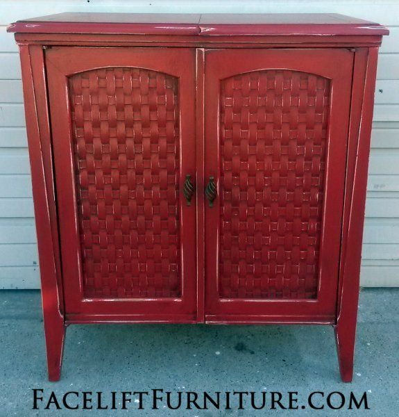 Sewing Cabinet in Barn Red with Black Glaze, distressed
