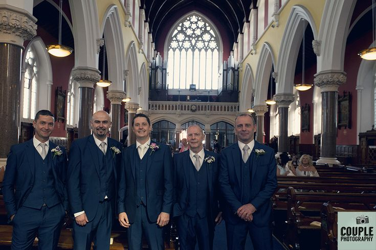 The groomsmen all together before the wedding ceremony. Weddings at The Knightsbrook Hotel Photographed by Couple Photography.