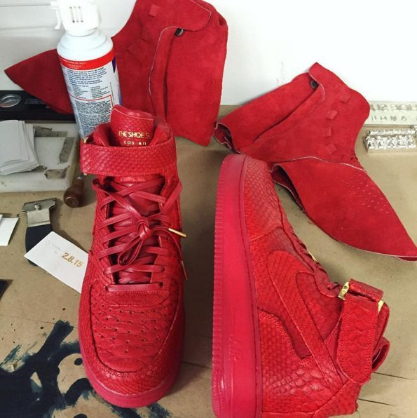 Th3rse AF1s wow! -John Gieger shared another custom Air Force 1 collaboration and hints at a custom all-red Yeezy Boost 750.
