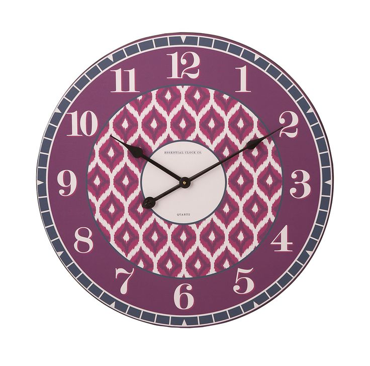 Essentials Irresistible Wall Clock From The By Connie Post Collection This Features Rich Plum And Berry Tones In An Ikat