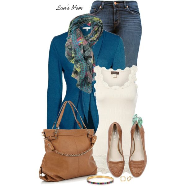 Outfit# Great color combos, frilly edging, great jeans, wonderful accessories. Has a very clean and classy feeling yet great feminine flare. Perfect!