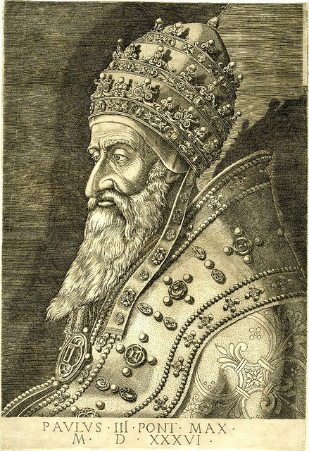 Portrait of Pope Paul III, half-length in profile wearing the Papal tiara. 1536. British Museum
