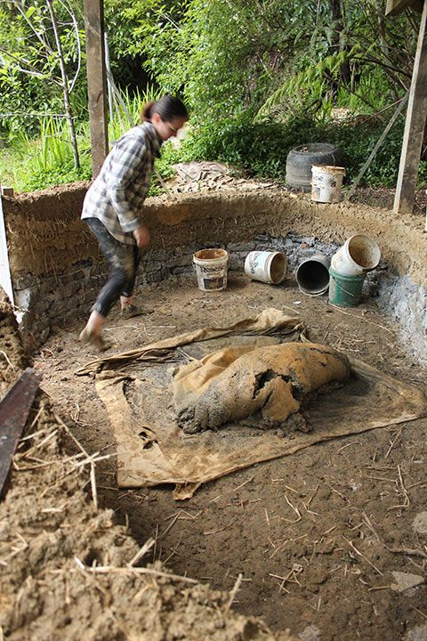can do - but we didn't do that on our little cob building.  Our final ratio of materials was:  3 parts crushed rock (5mm and less) to 1 part clay. We then added about a 1 bucket of straw. It's not