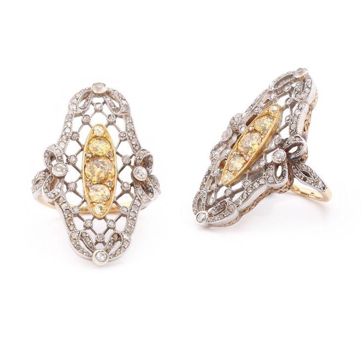 Impresionant inel din aur și platină, decorat cu diamante albe și galbene, cca. 1900-1920 - Licitația de Ceasuri și Bijuterii #217/2016 - Arhivă rezultate