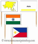 Asian Flags: Pin Map Flags: 50 Pin Map Flags of Asia