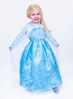"Elsa Dress  - High quality Real Princess Costumes for girls from Disney movie ""Frozen"".  This dress is so comfortable wearing without itching material."