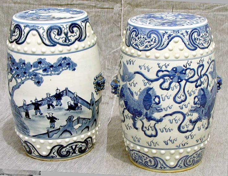 Chinese porcelain blue and white garden seats.