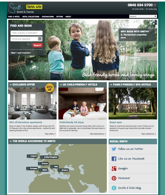Smith & Family is go! : Well, it certainly hasn't been an easy pregnancy (or a short one), but 'he' (or is it a she?) is finally here: we're delighted to announce today the Beta birth of our brand new child-friendly hotel collection – Smith  Family. With 35 hotels across Europe for this soft launch, our new site (which this blog is a part of) brings you a glimpse of more to come: we're delighted with the result and hope all you busy parents out there like what you...