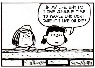 A tumblr that puts Smiths lyrics into Peanuts cartoons and it is perfect.