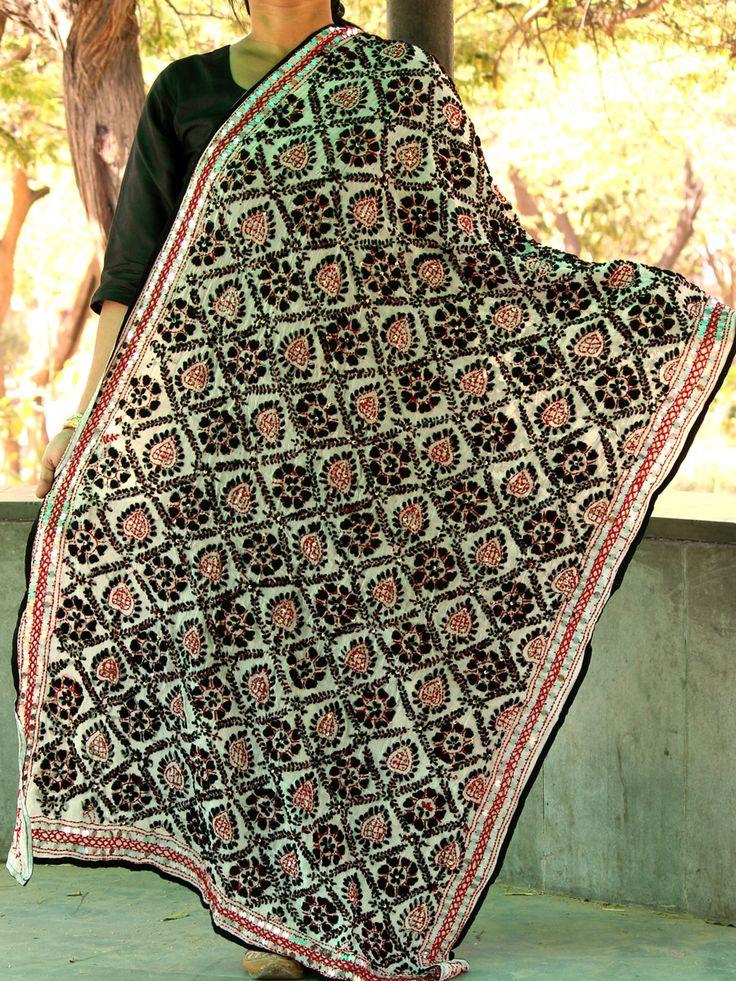 Buy Red and Black fulkari Handembroidered White georgette Dupatta. #phulkari #phulkaridupatta #fulkari #dupatta #whitephulkaridupatta #handembroideredfulkari #Shilphaat.com