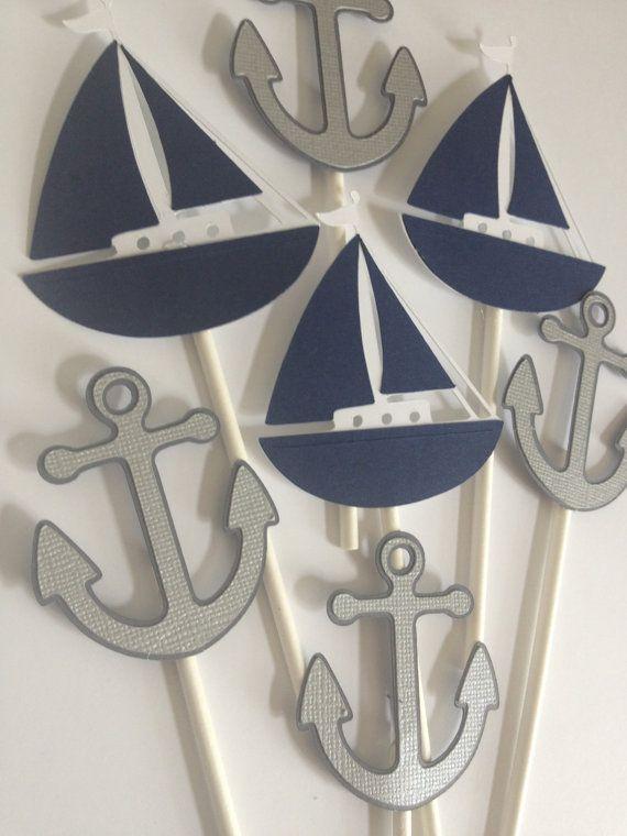 12 Sailboat and Anchor Cupcake Toppers,Crabs,Sailboats,Anchors,Nautical First Bithday,Boy Baby Shower, Nautical Baby,Nautical Bridal Shower via Etsy