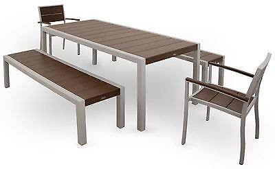 Trex Outdoor Furniture TXS122-1-11VL Surf City 5-Piece Bench Dining Set, Texture
