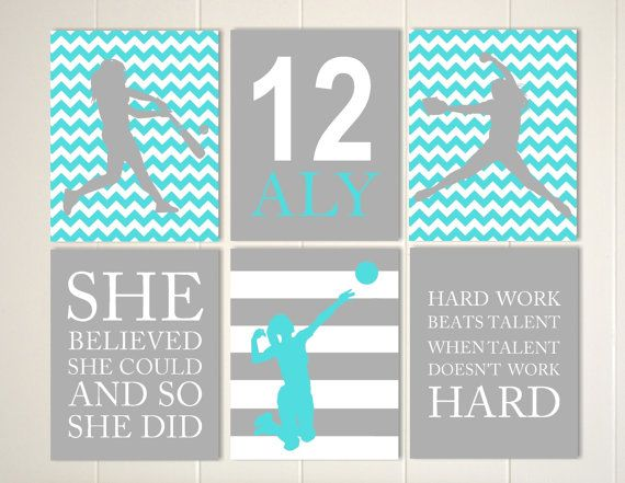 Softball, volleyball, Softball room decor, volleyball wall art, girls wall art, gift idea for girls, set of 6, choose your colors and sports by PicabooArtStudio