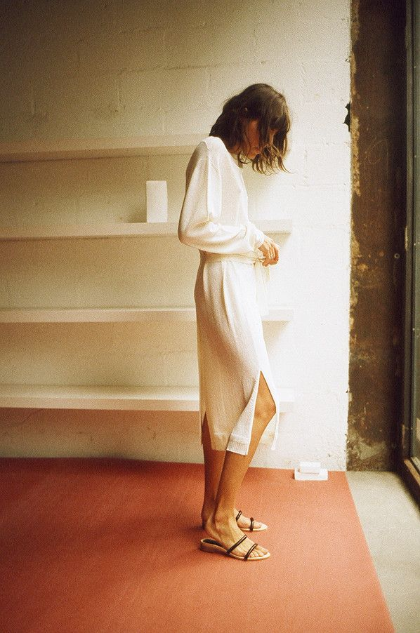 Christophe Lemaire FRONT BACK CARDIGAN DRESS, CHALK #womenswear