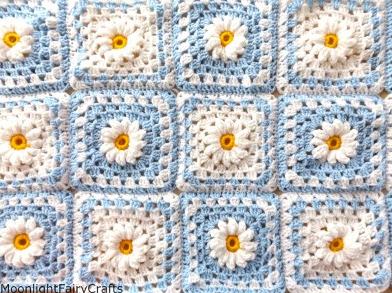 MADE TO ORDER read description Crochet Daisy Blanket /