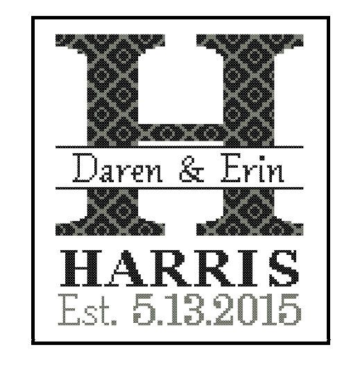 Custom Designed Monogram Cross Stitch Pattern, a Modern cross stitch monogram / Initial for Family Record, Wedding Gift, House Warming, Wedding Record, Anniversary ## Please READ the entire product description below before purchasing, and contact me if you have any doubts/queries. ★★ COUNTED CROSS STITCH PATTERN in a PDF FILE ★★ (Patterns are in both Single page and multi-page enlarged format for easy reading) NOTE 1. This listing is for a PRINTABLE PDF file(s). No physical item w...