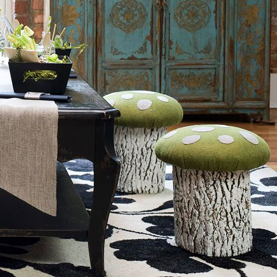 Toadstool Seat - blue and purple