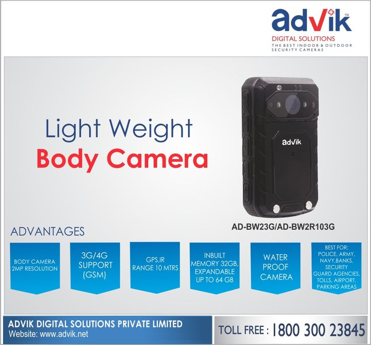 Light Weight #BodyCamera!!! Advik's Body #Camera is small and light to carry. Combined with a 2 MP high resolution camera and a #battery life of 7 hours. this small camera is big on impact. It has garnered high support among the defense and #security personnel. Additionally, it has a weatherproof rating of IP 66, GPS, 3G/4G, wireless, unbreakable and weighs less than 170g. This small camera is best suited for #police, #army, #navy, #banksecurity #guardagencies, tolls, airports and parking…
