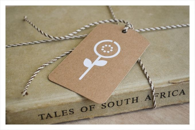 Set of 6 handprinted gift tags: each with different design and matching bakers twine by Doeksisters