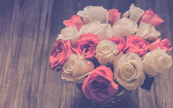 Download wallpapers bouquet of roses, pink roses, white roses, beautiful flowers