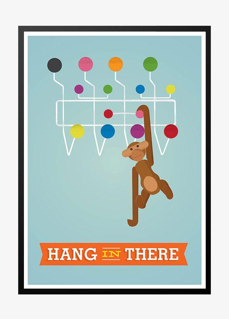 Hang In There retro plakat med flotte design ikoner. Stort udvalg af lækre retro plakater i de fedste retro faver til stuen eller køkkenet.