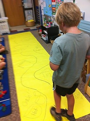 "Cute idea!  Storytelling path - students can walk down the ""path"" as they retell a story - beginning, middle, end, etc.  There are picture clues drawn on the sides of the path."