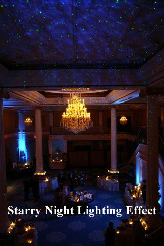 A starry night projector adds an amazing effect for wedding receptions.  Get the look for $149 + free shipping at www.rentmywedding.com.  #blisslight #wedding