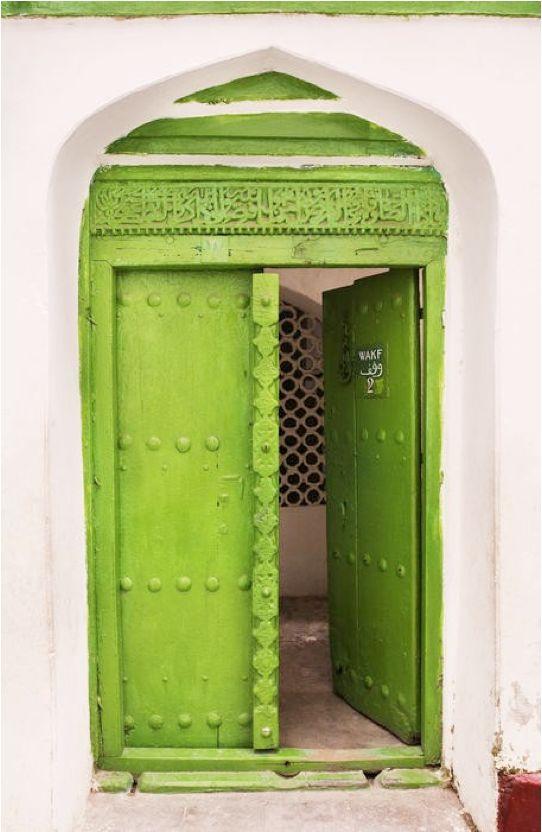 Bright lime green door