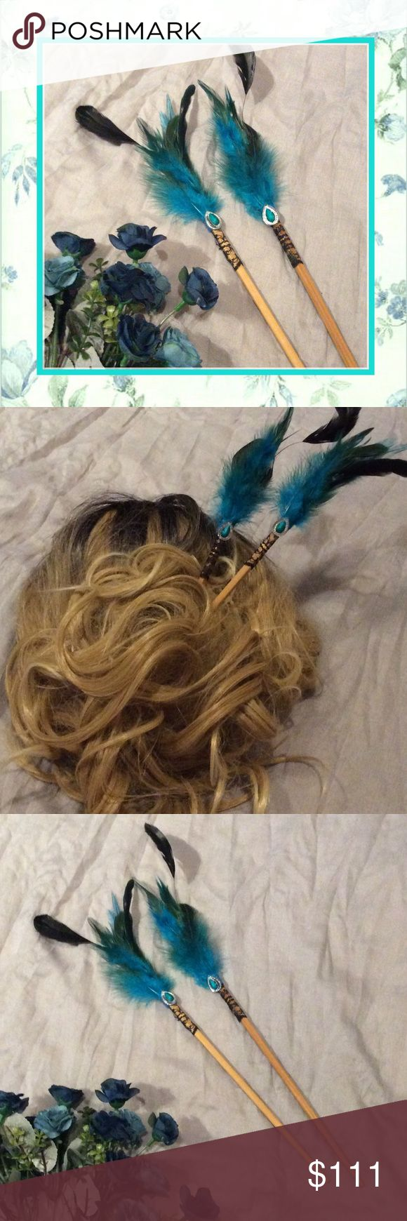 🌺New 2pc: blue hair feather Bling lace chopsticks Unique Styles New Very cute custom blue teal turquoise feathers and rhinestone chopstick set, can...