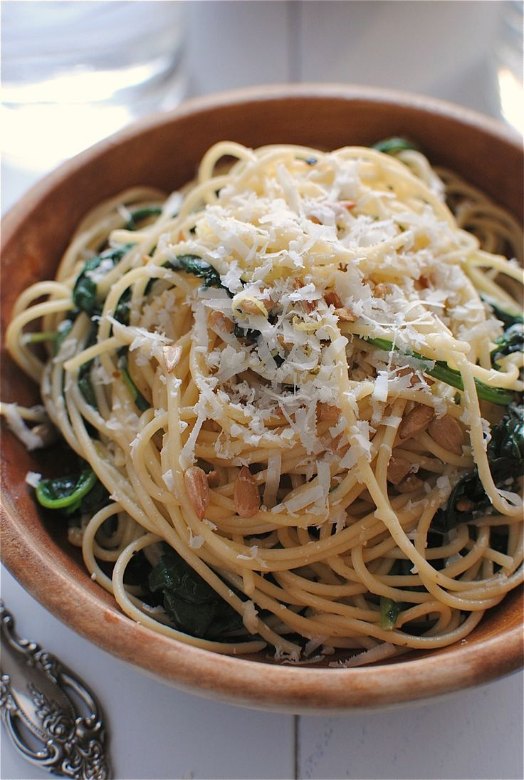 Spaghetti with Kale and Lemon. Looks awesome! Use whole wheat pasta.