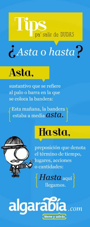 ¿Asta o hasta? Clases de español.