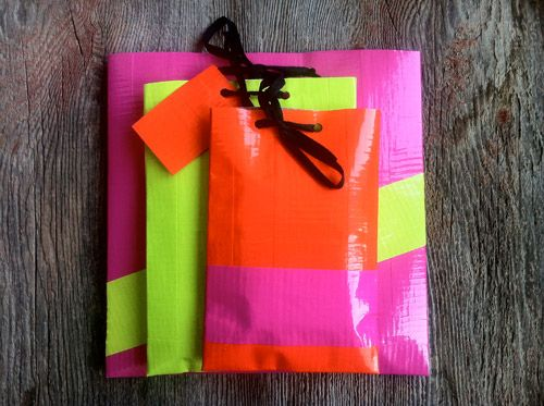 Neon duct tape gift bags