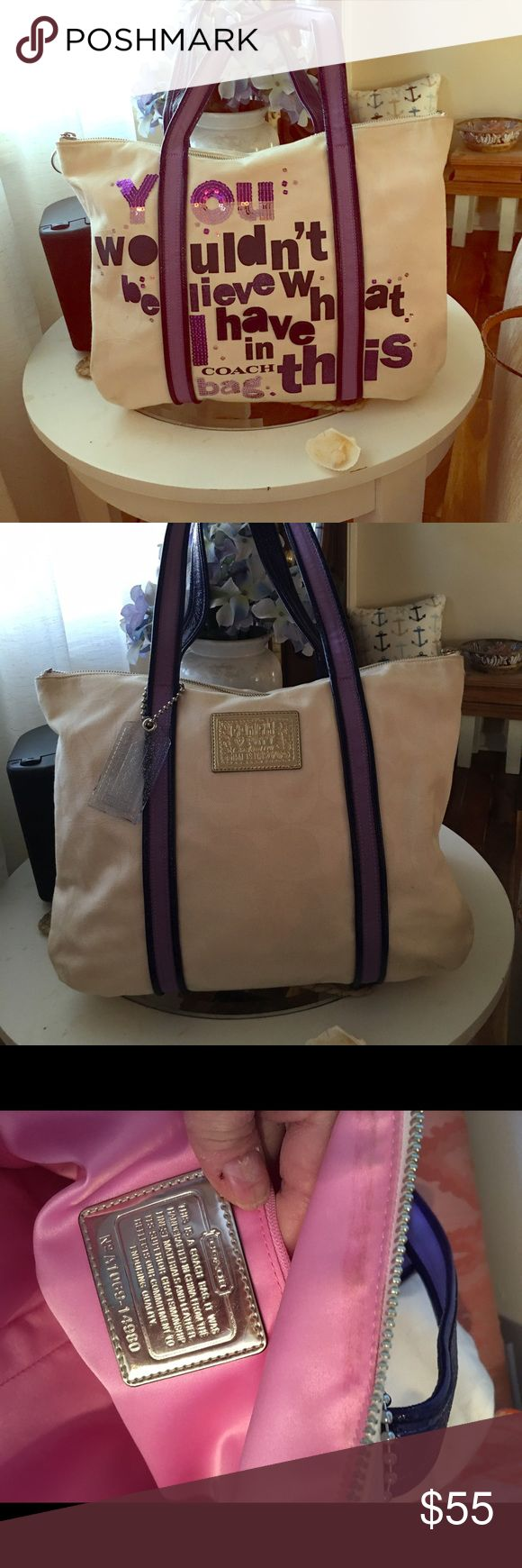 """Coach tote bag Cute and fun coach canvas tote bag dimensions are 15"""" across 14"""" deep 7"""" handle drop Coach Bags Totes"""