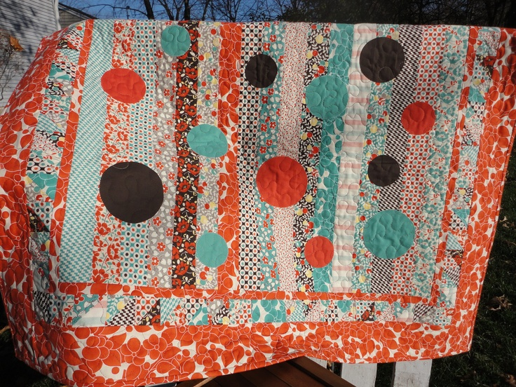 Orange Lap Quilt - Hello Betty Retro - Appliqued Circles. $128.00, via Etsy. Backing is a nice deep brown.