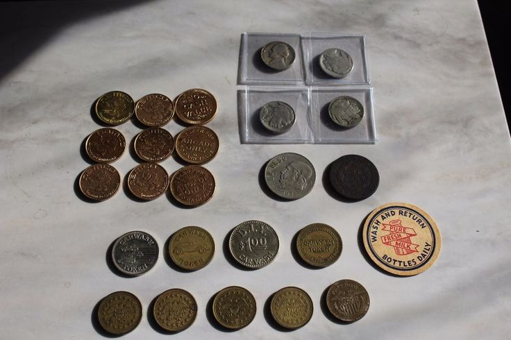 Coin & Tokens LOT buffolo nickels, Large cent, milk, car wash, no cash value