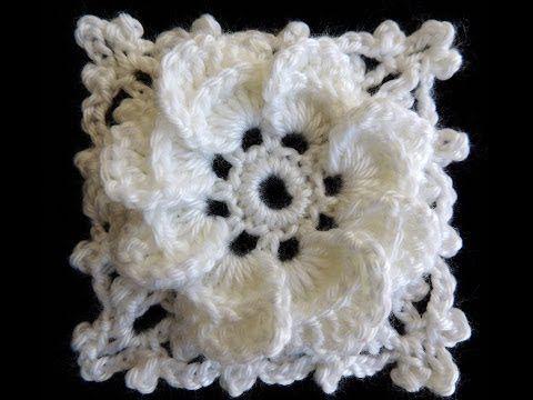 Crochet : Formando un Cuadrado con la Flor de 8 Petalos - YouTube