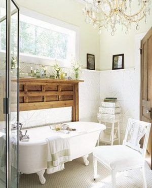 Country Style White Decorating Bathroom Ideas With Free Standing White Bathtub Furniture Ideas Complete With The Bathtub Faucet And Luxury Style Chandelier Interior Lighting Decorating Also Low Profile Style Rectangle Shaped Window