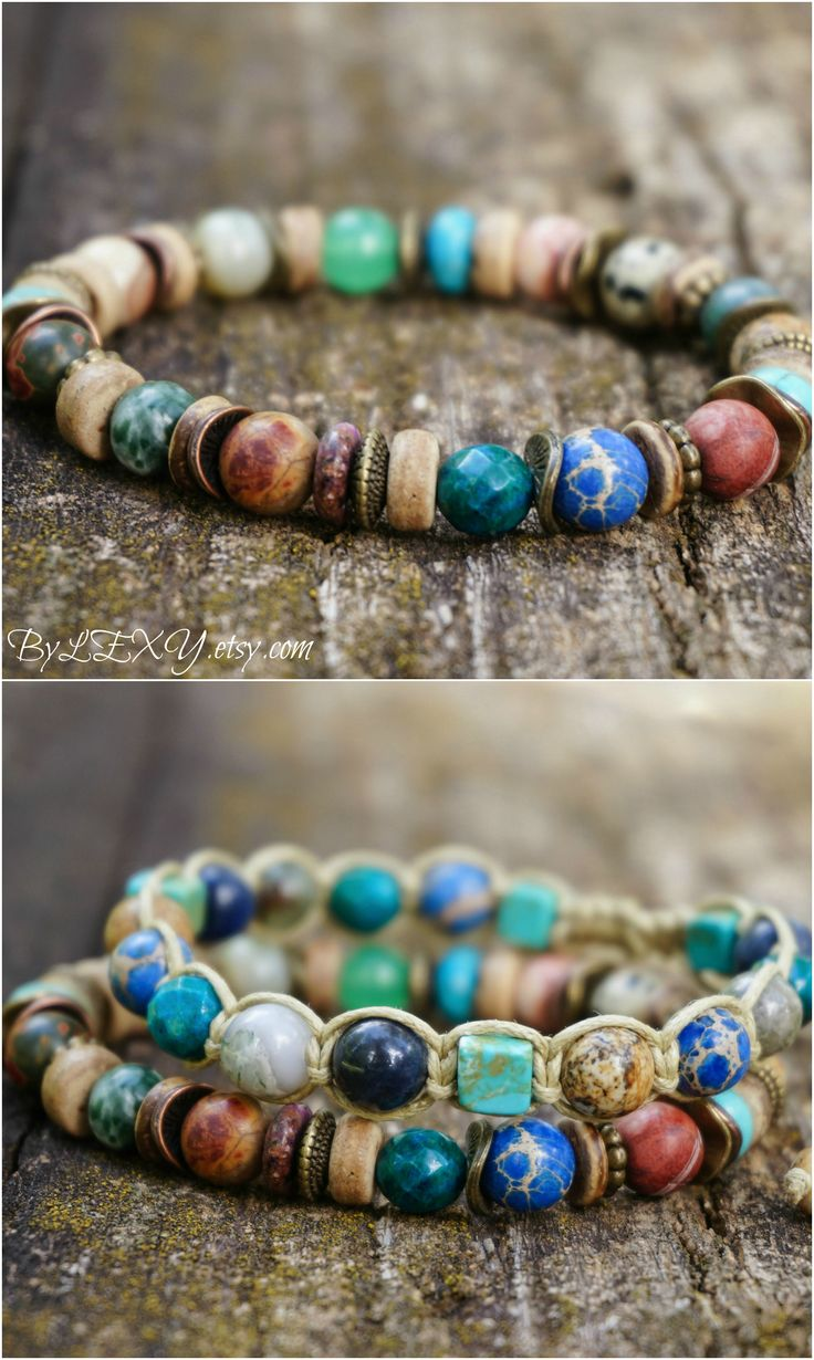 """Boho """"Vibrance"""" Stretch Bracelet, Hippie Gypsy Indie Colourful Psychedelic Beachy Tribal Surfer Rustic Wood Womens Mens Bracelet Gift ByLEXY"""