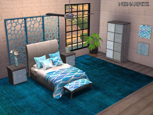 Neinahpets Watercolor Waves Bedroom Collection Mesh Required