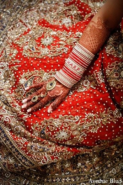An Indian Bride Rocks A Red Lengha For Her Punjabi Wedding Ceremony