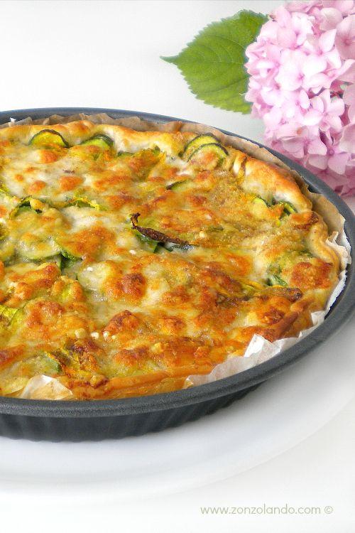 Torta di zucchine e suoi fiori - Zucchini Quiche Recipe