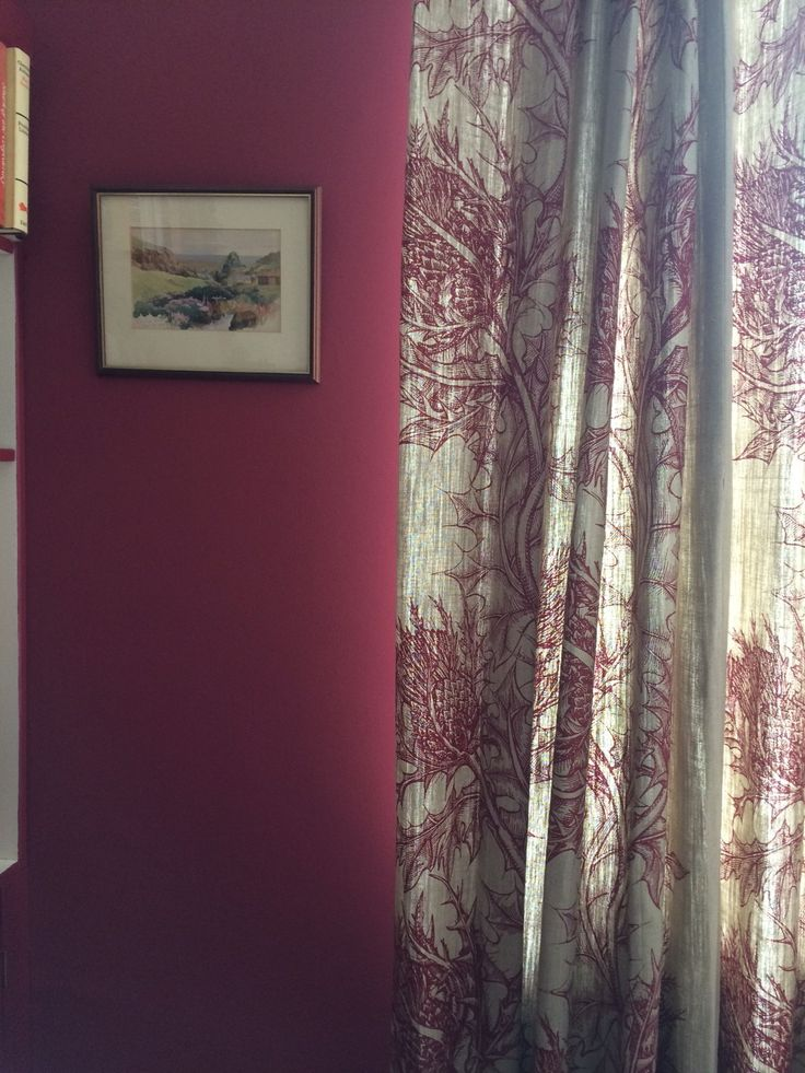 Curtains in Timorous Beasties fabric Thistle against wall in Farrow and Ball Radicchio.