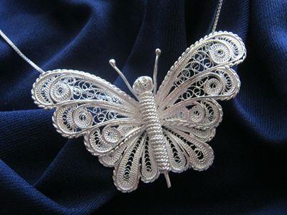Wisiorek srebrny motyl rękodzieło Malta upominek