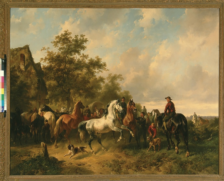 Wouterus Verschuur, Paardenmarkt (Horsemarket), 1840/50. (collection) #franshalsmuseum #horse #art #painting