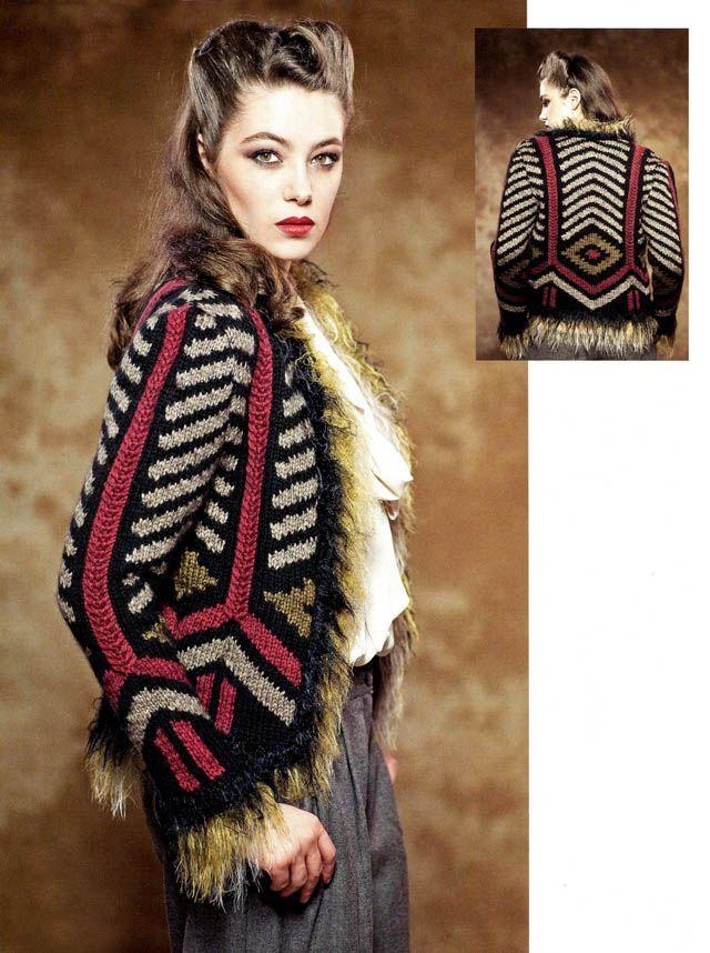 Жакет с геометрическим узором, Вязание спицами, Вязание для женщин