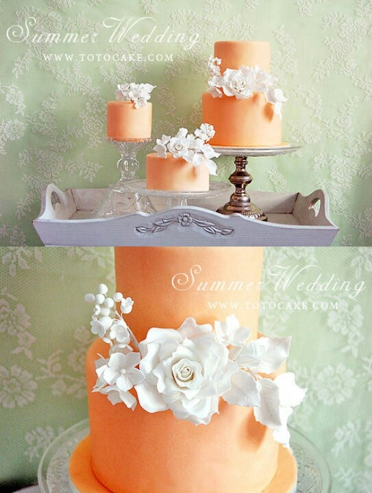 Coral colored cakes. Love the separate cakes instead of really tall stacked cake.