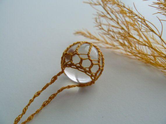 Crystal Ball Pendant . Crystal Quartz . by TheTreeFolkHollow